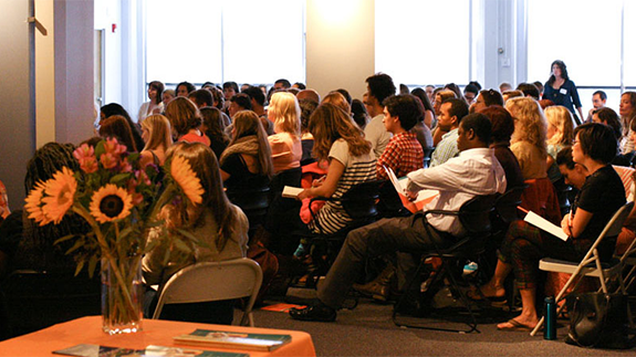 Photo of students gathered in Namaste Hall